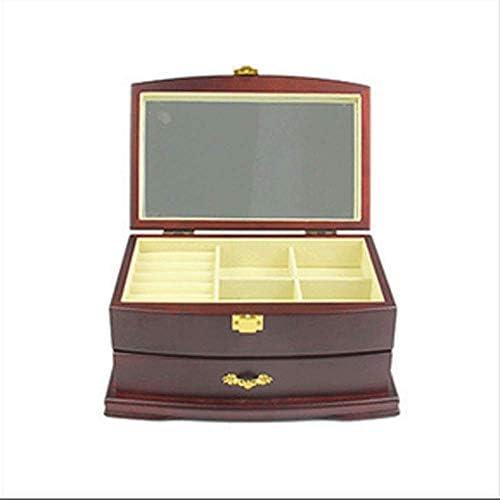 YUI Dos capas de joyería,una caja Europea de madera retro,una caja de joyería ecológica.: Amazon.es: Bricolaje y herramientas