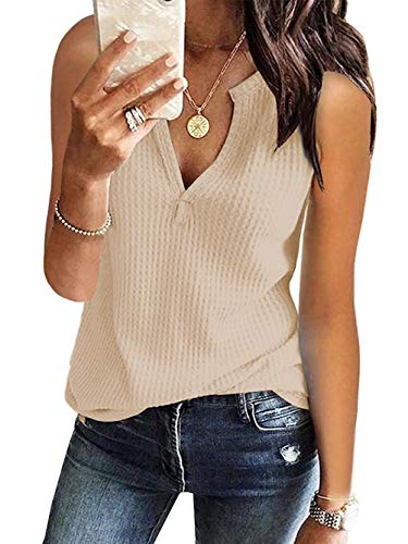 Famulily Womens Casual Sleeveless Shirt V Neck Loose Fit Soft Waffle Knit Lightweight Tops Beige Large ()