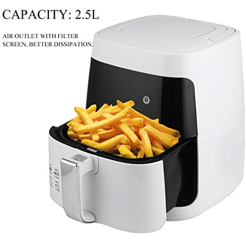 2.5L 110V Power Air Fryer, Smokeless Electric airfryer French Fries Machine Non-stick Air Fryer with Cooking Divider, Perfect Sized Family Air Fryer-white