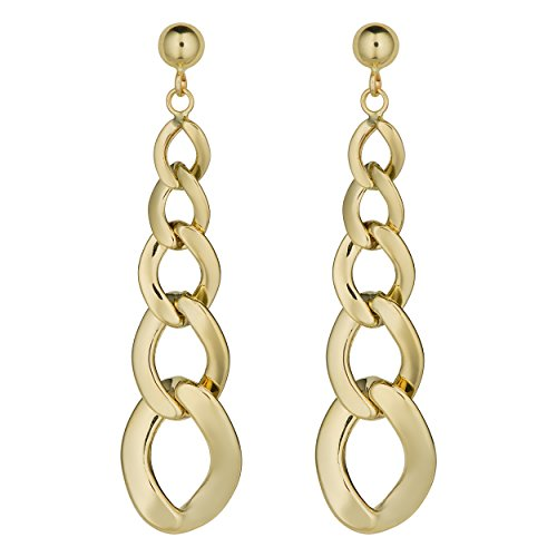 (Kooljewelry 14k Yellow Gold Graduated Curb Link Drop Earrings, 1.75 inch)