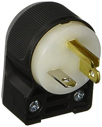 N2 Hubbell 20A 125 V Black Indoor Angle Plug Industrial # 520SPAZ