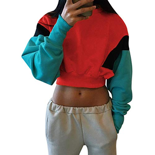 Winter Casual Hoodies Woman Sexy Patchwork Long Sleeve Lace Up Loose Sweatshirt Crop Top,Red 2,L
