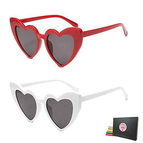 (Heart Shaped Retro Cateye Sunglasses for Women, Party Favors Supplies, Red Pink Beige White Black Leopard Eye Wears (Red + White))