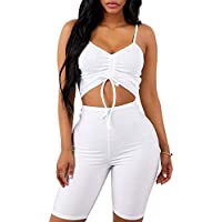 Kaximil Women's Sexy Bodycon 2 Piece Outfits Rompers Spaghetti Strap Crop Top + Shorts Pants Club Wear