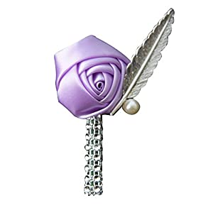 Jackcsale Boutonniere Bridegroom Groom Men's Boutonniere Boutineer with Pin for Wedding, Prom, Homecoming Lavender 1 Piece 5