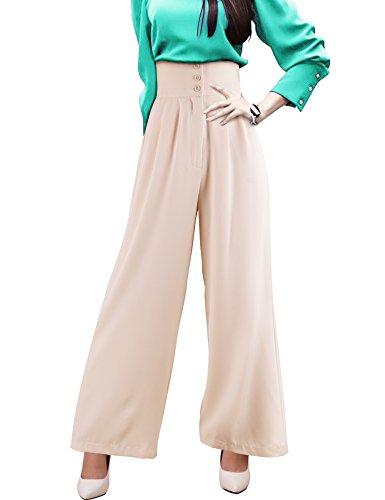 DELUXSEY High Waisted Pants Wide Leg Pants for Women Elegant Pants(Beige, XS)