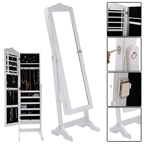 WATERJOY Lockable Jewelry Cabinet, Jewelry Armoire Full-Length Mirrored Lockable Jewelry Organizer Free Standing (White) ()