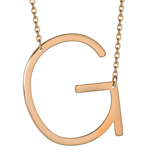 HUAN XUN Big Initial G Necklaces Stainless Steel Jewelrys Name 18k Plated -