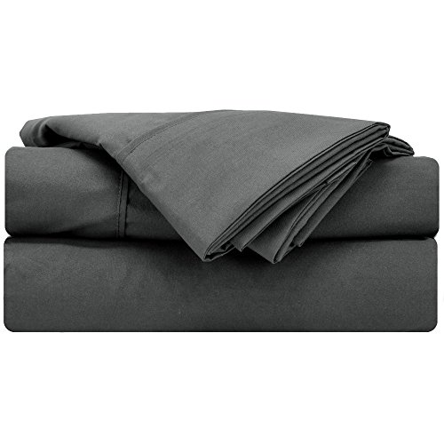 Mezzati Soft and Comfortable Waterbed Sheets Set - 1800 Prestige Brushed Microfiber Collection Bedding (Gray, Queen Attached)