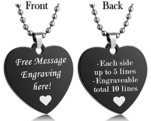 Interway Trading Personalized Small Size Custom Message Engraved Stainless Steel Necklace Dog Tag Pendant with 24 inch Chain,Velvet Giftpouch and Keyring (Heart Black)