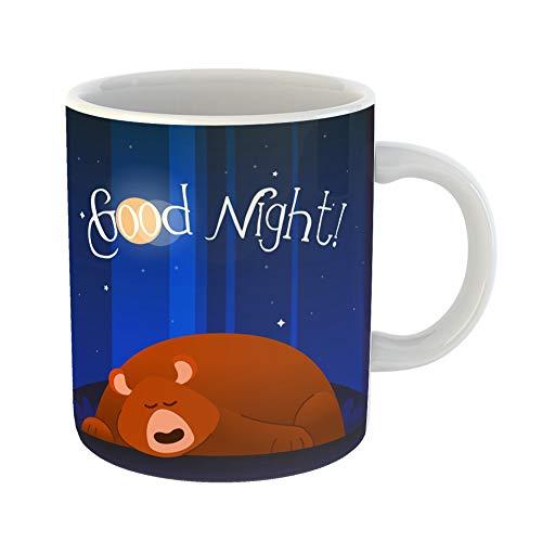 (Emvency Coffee Tea Mug Gift 11 Ounces Funny Ceramic Bear Modern Phrase Flat Cartoon Animal Character of Sleeping Wishing Good Night Gifts For Family Friends Coworkers Boss)