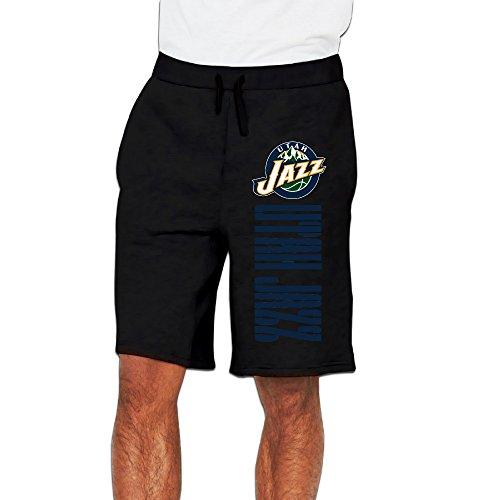 Men's Utah Jazz Logo Cotton Short Sweat Pants Black US Size XXL