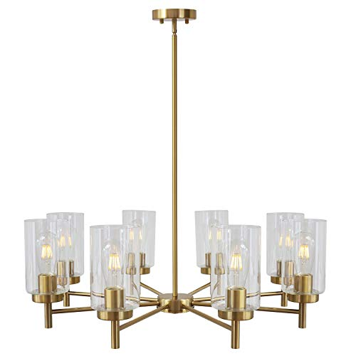 VINLUZ 8-Light Chandeliers Lighting Contemporary Modern Large Clear Glass Shades Pendant Lamp Brushed Brass Rustic Dining Room Lighting Fixtures Hanging Adjustable Wire Semi Flush Mount Ceiling Lights