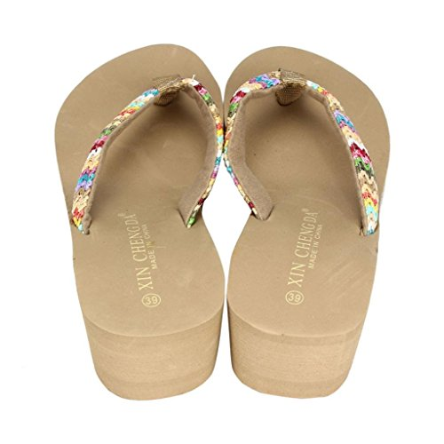 Euone® Summer Platform Sandals Beach Flat Wedge Patch Flip Flops Lady Slipper Khaki jlacr4