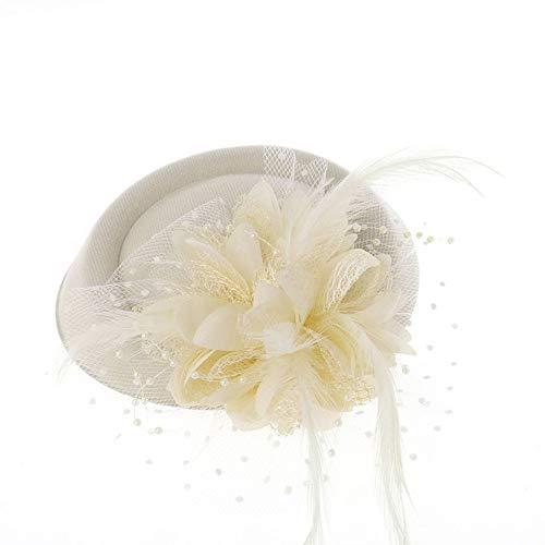 Headdress Creative Bride Hat Head Flower Mesh Yarn Flower Hat Wedding Dress Accessories Banquet Small Hat (Color : Beige, Size : Free size) ()