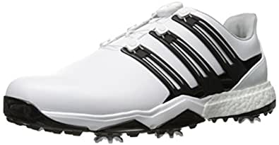 adidas Men's Pwrband Boa Boostwd Ftwwh Golf Shoe, White, 7 4E US