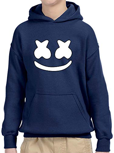 New Way 1137 - Youth Hoodie Marshmello DJ Smiley Face Unisex Pullover Sweatshirt Small Navy ()