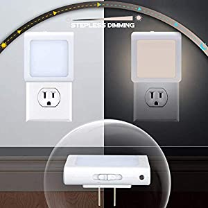 [4Pack] Vintar Dimmable LED Night Light, Plug-in Nightlight with Auto Dusk to Dawn Sensor,Adjustable Brightness Warm White Lights for Hallway,Bedroom, Kids Room, Kitchen, Stairway,Bathroom