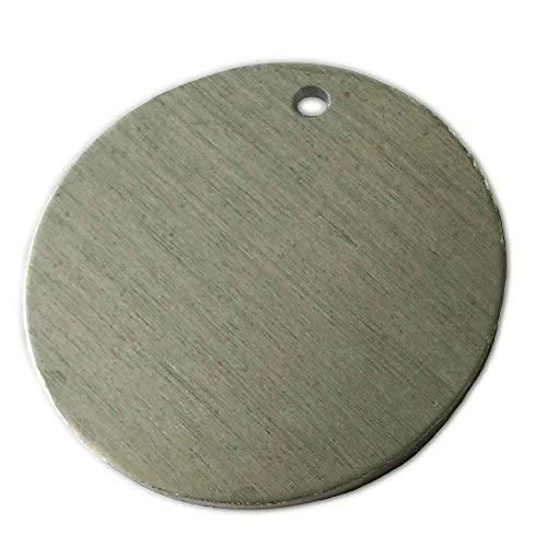 GazeKu Blank Stamping Tags, 1 Hole, Aluminum .063 Inch (14 Ga.) (1.57 Inch Round) (Pack of 20)