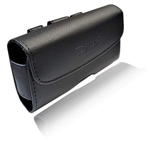 AccessoryHappy Horizontal Leather Pouch, Holster Flip Phonewith Belt Clip Belt Loop Case Fits LG B470 Kyocera Cadence LTE, DuraXTP, DuraXV LTE, DuraXV Plus, DuraXE, Convoy 4, Most Large FLIP Phones