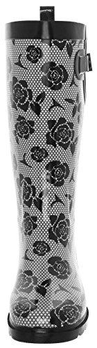 Capelli New York Ladies Shiny Umbrella Printed Rain Boot Black White OZXmW20D