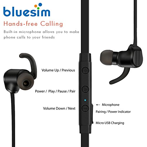 Bluesim Bluetooth Headphones with Microphone - 4.1 Wireless Bluetooth Earbuds for Running, Super Magnetic Neckband Earphones Noise Cancelling Bluetooth Headphones by Bluesim (Image #1)