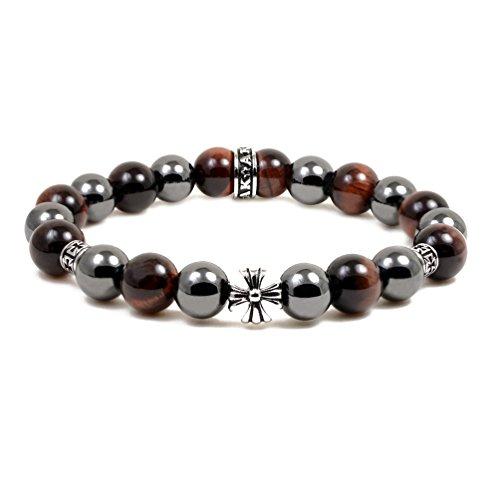 (Accents Kingdom Men's 10MM Magnetic Hematite Red Tiger Eye Bead Maltese Cross Bracelet 8.5