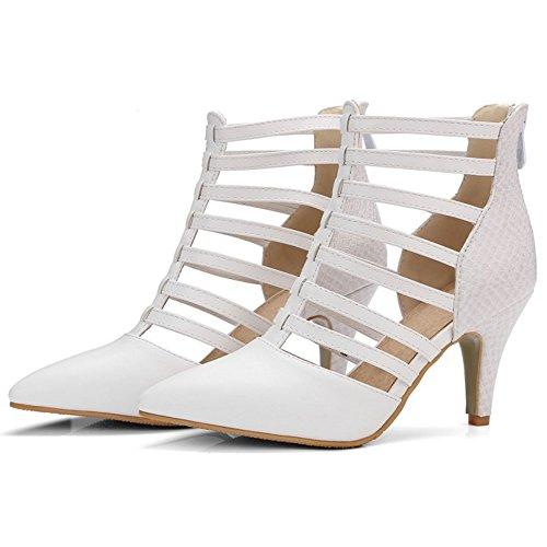 COOLCEPT Mujer Moda Cerrado Puntiagudo Hueco Gladiator Tacon Alto Verano Romano Botas Zapatos White