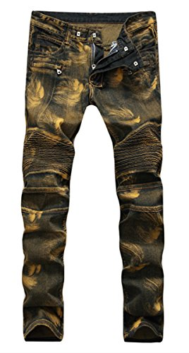 Washed Straight Leg Jeans - FEESON Men's Moto Biker Skinny Zipper Ripped Washed Faded Denim Jeans Yellow