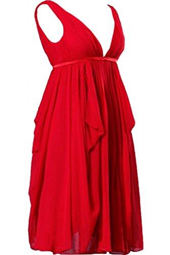line per A collo senza vestito Chiffon damigella d'onore Sunvary Rosso feste con maniche corte da V in donna A 5qx8Rp
