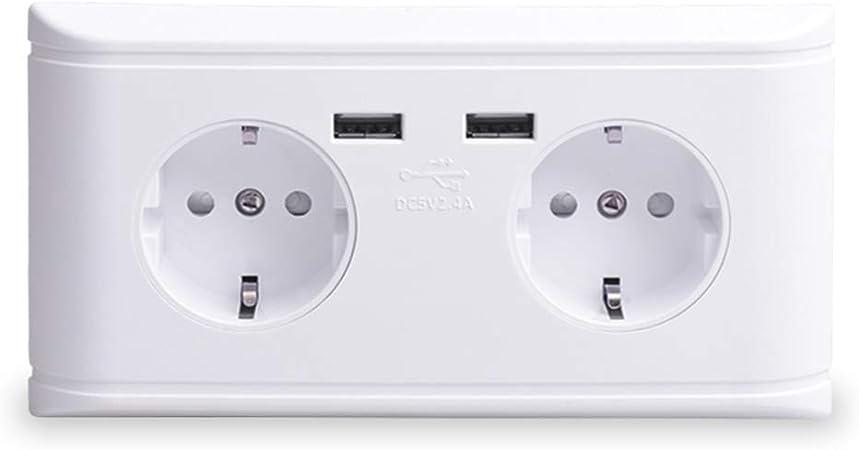 XINRISHENG Puerto de Carga USB Dual 5V 2.4A 16A Pared Rusia España Toma de Corriente estándar Adaptador de Cargador de Salida Doble de la UE: Amazon.es: Hogar