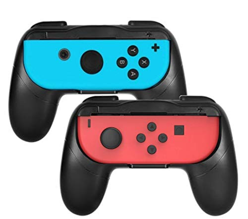 Grip kit for Nintendo Switch Joy-Con Controllers,Wear-Resistant Joy-con Handle for Nintendo Switch,2Pack (Black/Black)