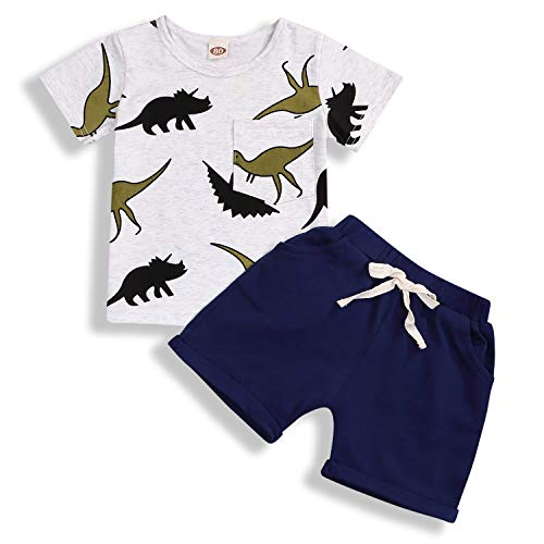 Toddler Baby Boy Summer Outfits Dinosaur Print Shirt Top Short Pants Cotton Clothes Sets (18-24 Months, Blue) -