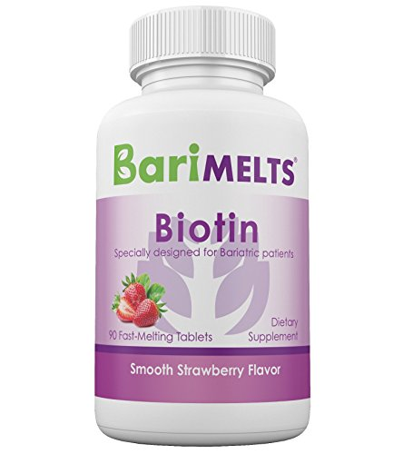 BariMelts Biotin, Sugar-Free Bariatric Vitamins, All Natural Strawberry Flavor, Fast Melting Tablets, WLS Chewable Supplement 90 count