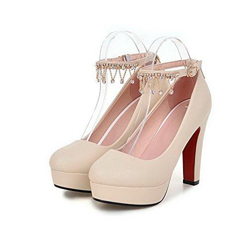 VogueZone009 Damen Rund Zehe Hoher Absatz Rein Schnalle Pumps Schuhe, Aprikosen Farbe, 40