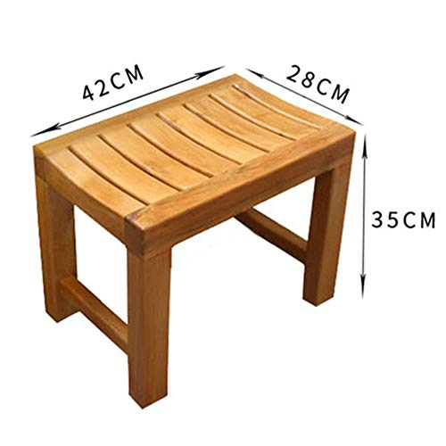 - Noble.store - stools Wooden Bench- Square Wooden Stool Bathroom Anti-Corrosion Small Wooden Bench Shower Room Shower Seat Slip (Color : A)