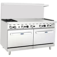 Atosa ATO-2B48G 60 Gas Range. (2) Open Burners and 48 Griddle on the RIGHT with Two 26 1/2 Wide Ovens