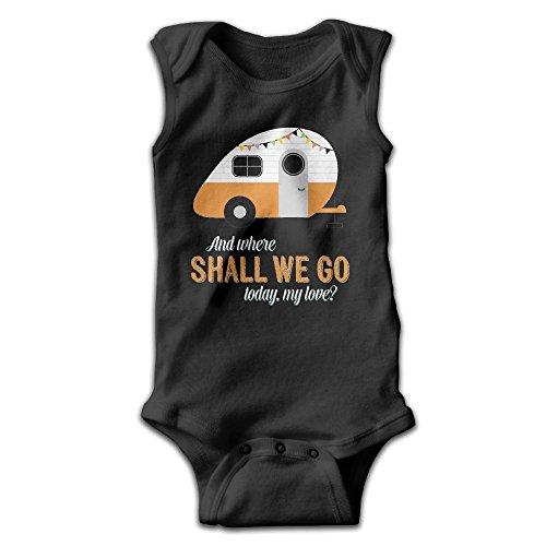 Hizhogqul Vintage Travel Trailer Baby Sleeveless Romper Bodysuit Jumpsuit Newborn Black