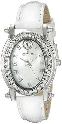 CROTON Women's CN207537WHMP Balliamo April Birthstone Analog Display Quartz White Watch Croton Womens Quartz Stone