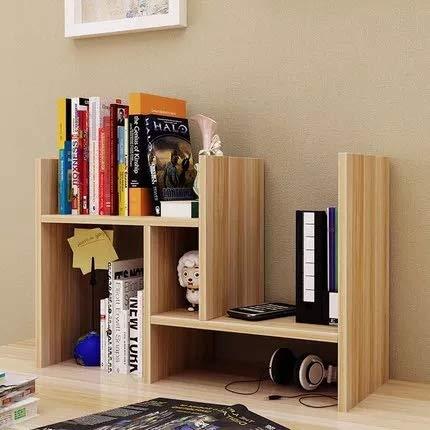 Desktop Organizer Purpose Multi Wood (VONOTO New Wood Desk Storage Organizer Adjustable Desktop Display Shelf Rack Multipurpose Bookshelf for Office Kitchen (Light Walnut))
