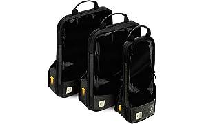 VASCO Compression Packing Cubes for Travel – Premium Set of 3 Luggage Organizer Bags Black