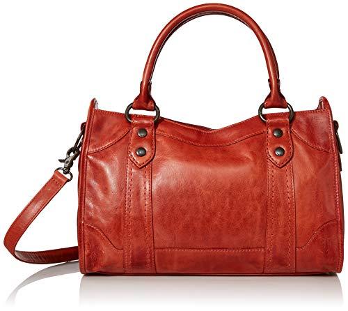 Frye Melissa Zip Satchel Leather Handbag, Burnt Orange