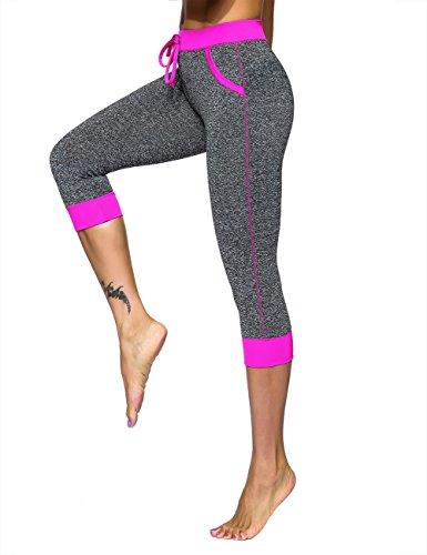 Unitop Womens Yoga Pants Contrast Color Workout Capris Leggings