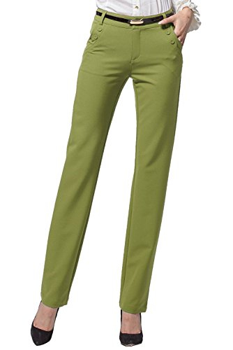 yisqzjzj Fascinating Women's Slim Straight Leg Stretch Casual Pants GreenX-Large