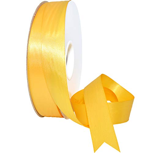 (Morex Ribbon 088 Double Face Satin Ribbon, 7/8 Inch by 50 Yards, Yellow Gold)