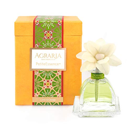 AGRARIA PetiteEssence Luxury Fragrance Diffuser Lime and Orange Blossoms Scent, Includes 1 Sola Flowers and 7 Reeds