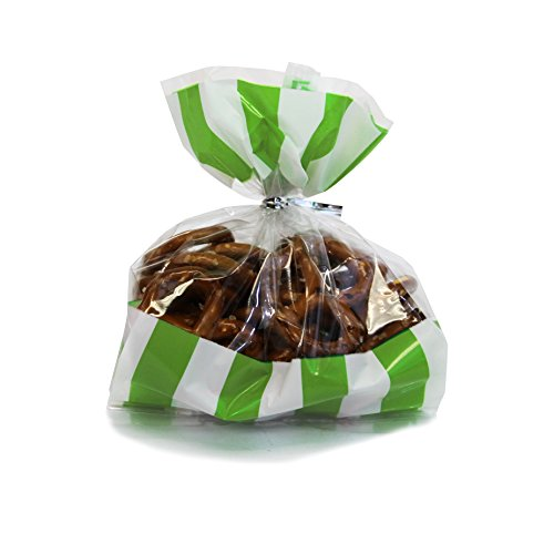 Gift Expressions Beautiful Polka Dot and Striped Party Plastic Favour and Giveaway Bag, Pack of 24 (Small, Stripes Lime -