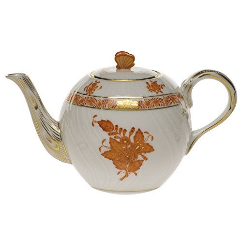 Herend Chinese Bouquet Rust Tea Pot With Butterfly