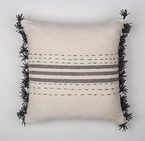 Trattini Square - Hand Embroidered Hand-Woven Wool Pillow Cover Made Of High Quality Durable THICK Wool ()