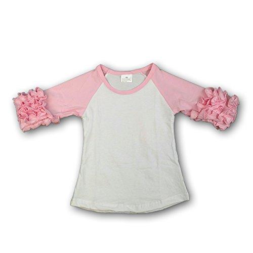 The Hair Bow Company Toddler Girl Icing Ruffle Raglan Shirt 4-5 T Light Pink